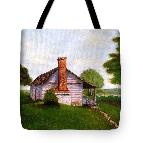 Tote Bag featuring the painting Hawkeye Cabin by Fred Wilson