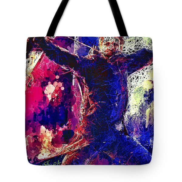 Tote Bag featuring the mixed media Hawkeye by Al Matra