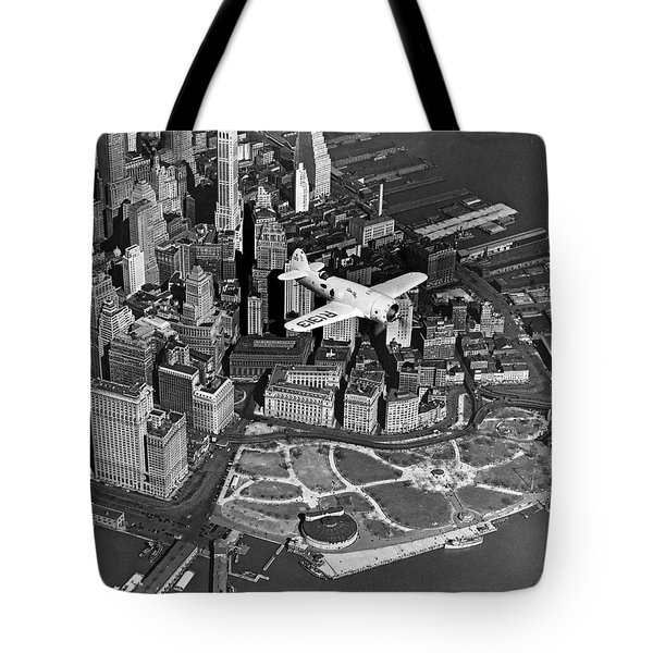 Hawk's Plane Over Battery Park Tote Bag by Underwood Archives
