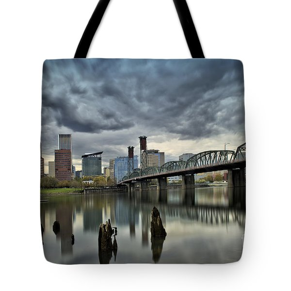 Hawthorne Bridge Across The Willamette Portland Oregon  Tote Bag