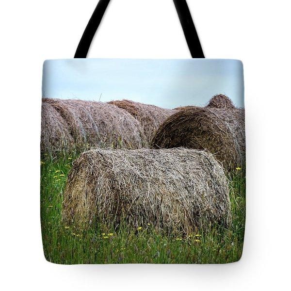 Hay Bales Among The Wildflowrs Tote Bag