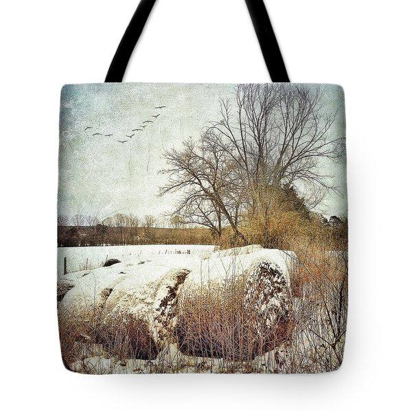 Hay Bales In Snow Tote Bag