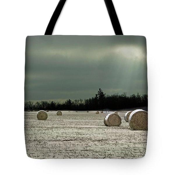 Hay Bales In The Snow Tote Bag