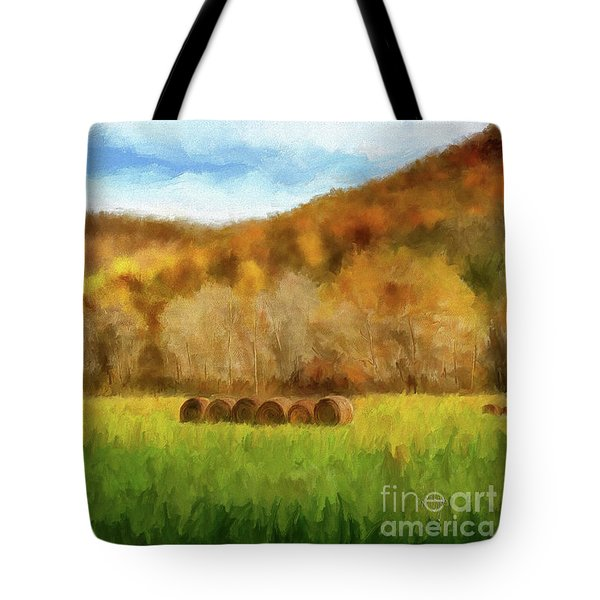 Tote Bag featuring the photograph Hay Bales by Lois Bryan