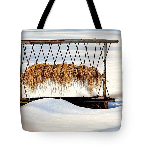 Hay Feeder In Winter Tote Bag