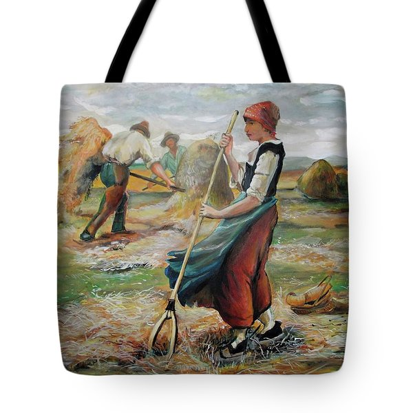 Hay Field Workers Tote Bag