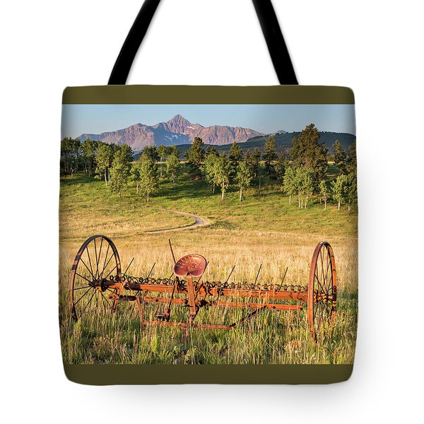 Hay Rake In Morning Sun Tote Bag