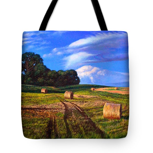 Hay Rolls On The Farm By Christopher Shellhammer Tote Bag by Christopher Shellhammer