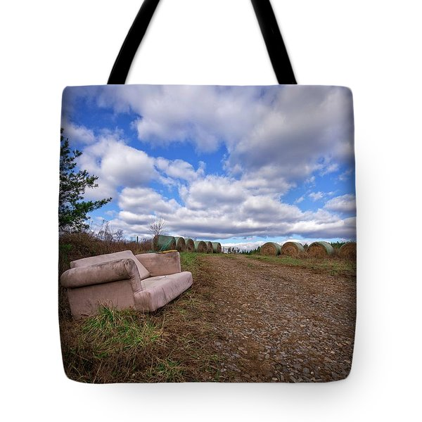 Tote Bag featuring the photograph Hay Sofa Sky by Alan Raasch