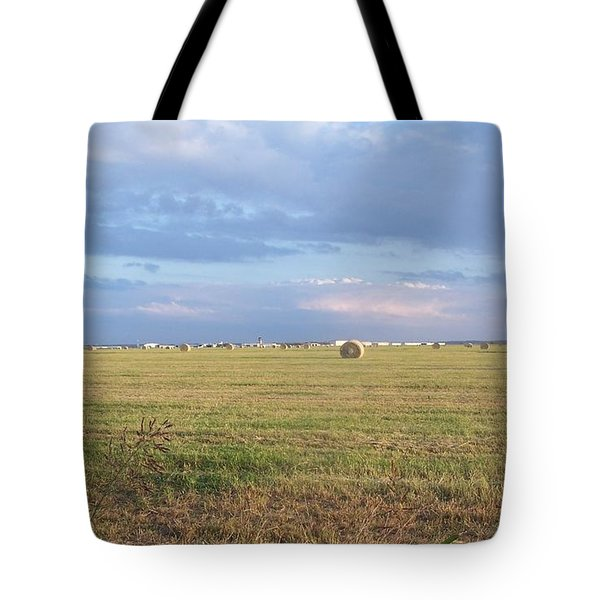 Haybales With Violet Sky Tote Bag