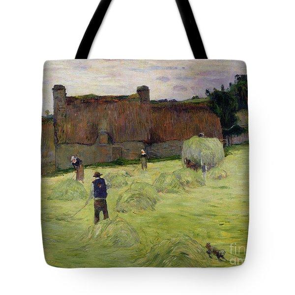 Haymaking In Brittany Tote Bag by Paul Gauguin