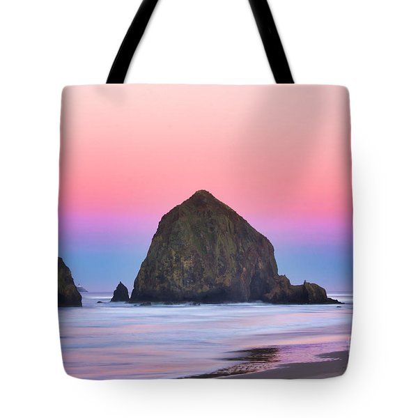 Haystack Rock At Dawn Tote Bag
