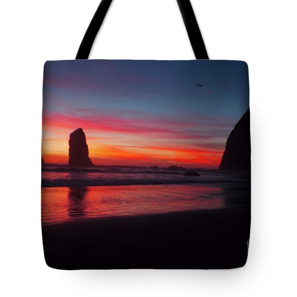 Haystack Rock At Sunset 2 Tote Bag