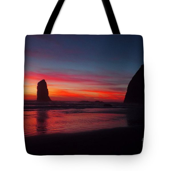 Haystack Rock At Sunset Tote Bag