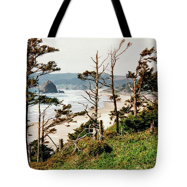 Tote Bag featuring the tapestry - textile Haystack Rock by Dennis Bucklin