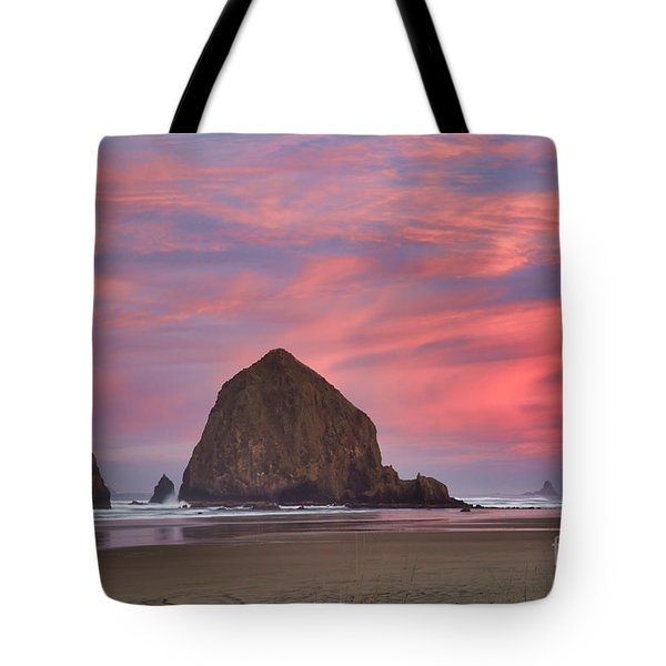 Haystack Rock- First Light Tote Bag