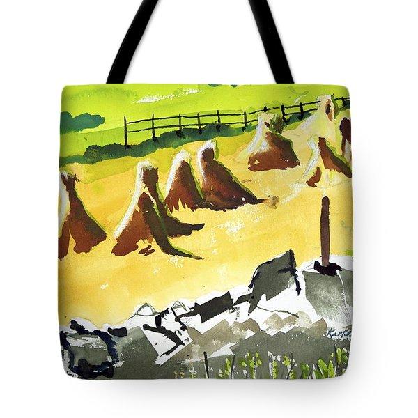 Haystacks And Wall Tote Bag
