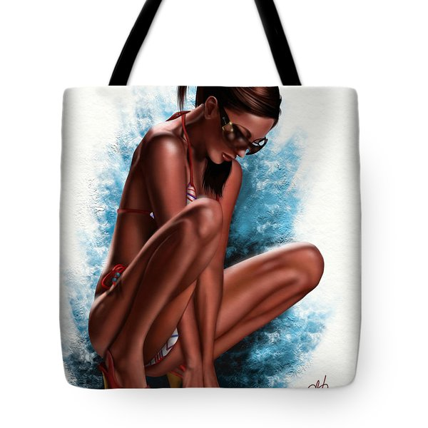 Tote Bag featuring the painting Haze by Pete Tapang