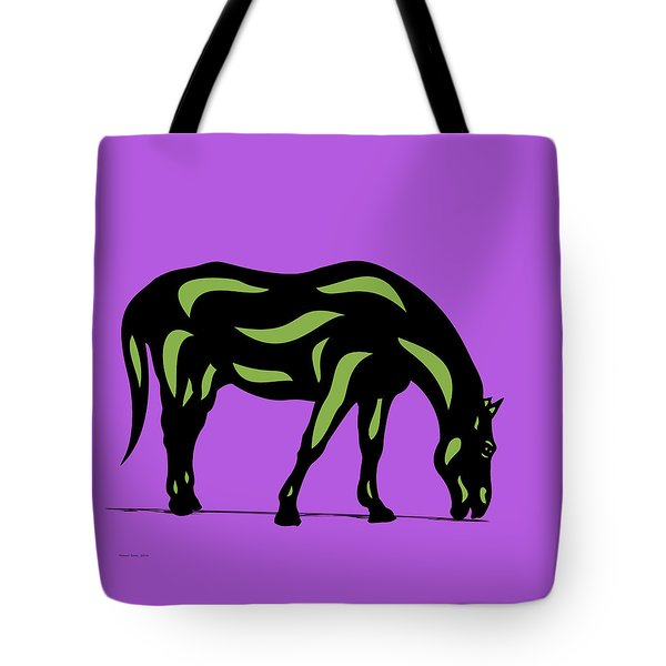 Hazel - Pop Art Horse - Black, Greenery, Purple Tote Bag