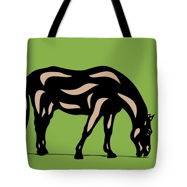 Hazel - Pop Art Horse - Black, Hazelnut, Greenery Tote Bag