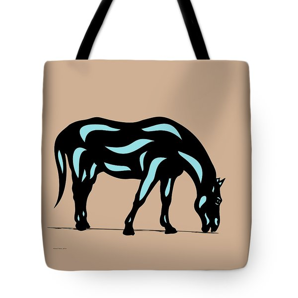 Hazel - Pop Art Horse - Black, Island Paradise Blue, Hazelnut Tote Bag