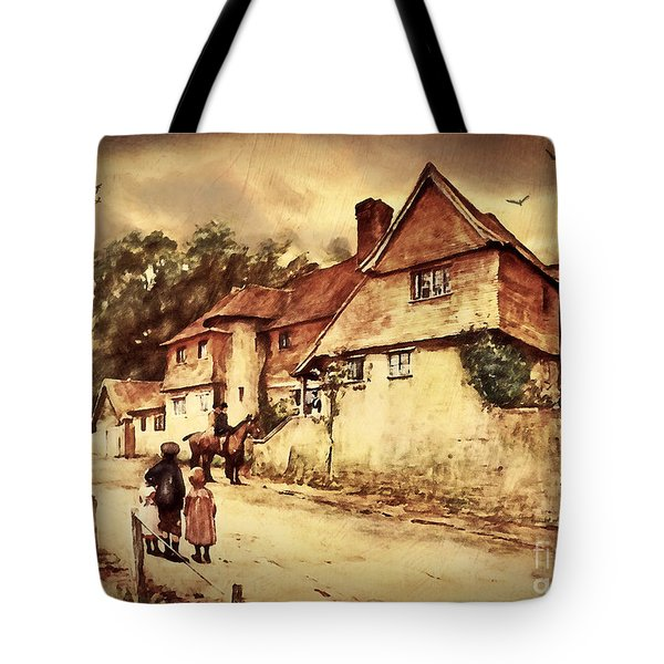 Tote Bag featuring the digital art Hazelmere Cottage - English Lake District by Lianne Schneider