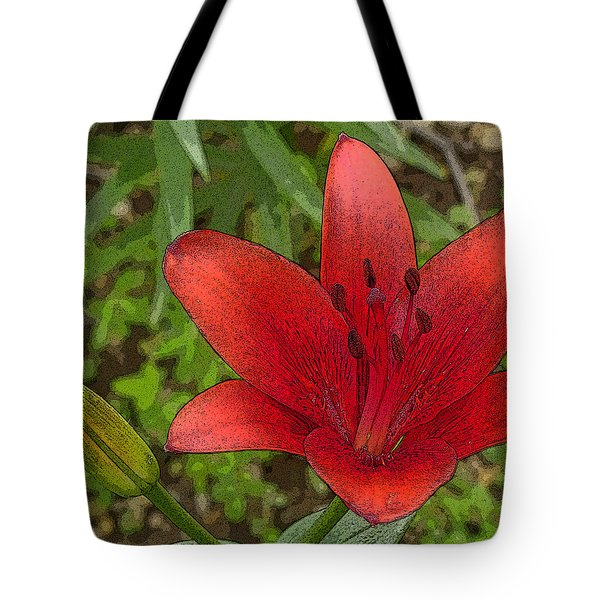 Hazelle's Red Lily Tote Bag
