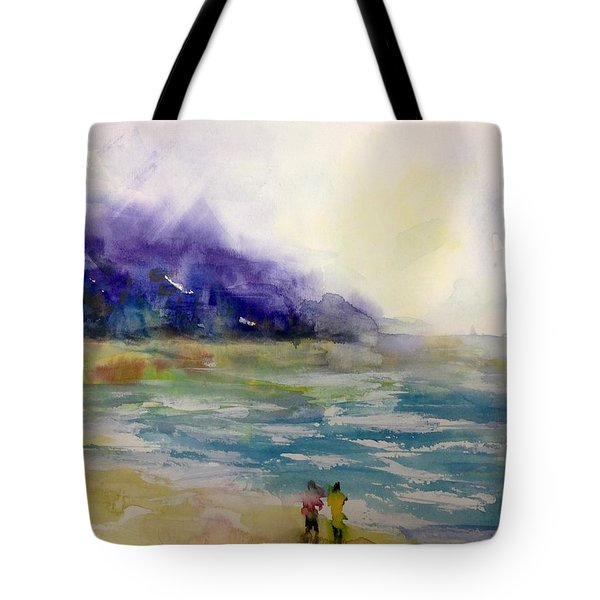 Hazy Beach Scene Tote Bag