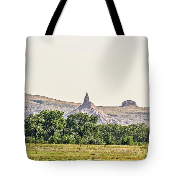 Tote Bag featuring the photograph Hazy Chimney Rock by Sue Smith