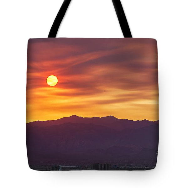 Hazy Las Vegas Sunset Tote Bag