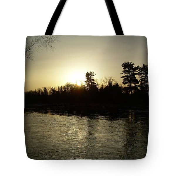 Tote Bag featuring the photograph Hazy Mississippi River Sunrise by Kent Lorentzen