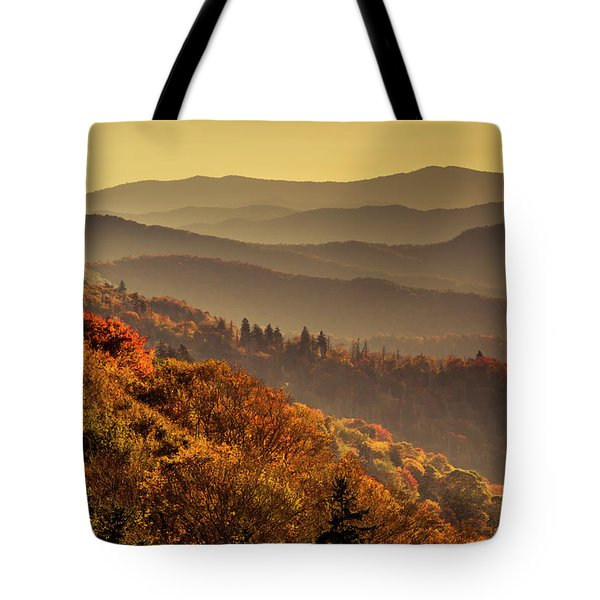 Hazy Sunny Layers In The Smoky Mountains Tote Bag