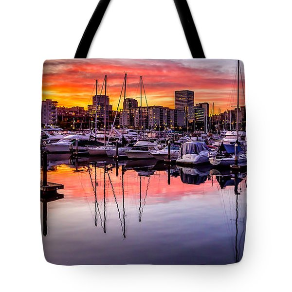 Hdr Sunset On Thea Foss Waterway Tote Bag