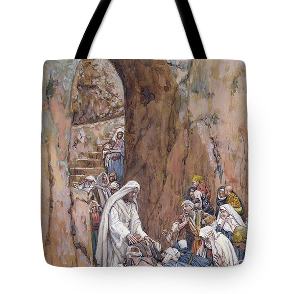 He Did No Miracles Save That He Healed Them Tote Bag by Tissot