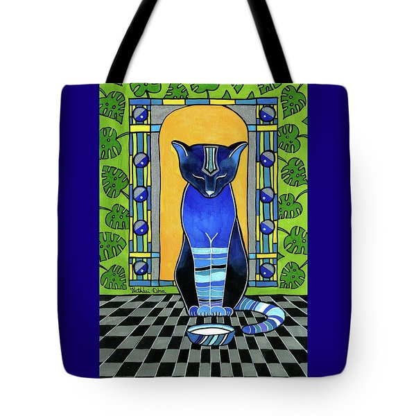 Tote Bag featuring the painting He Is Back - Blue Cat Art by Dora Hathazi Mendes
