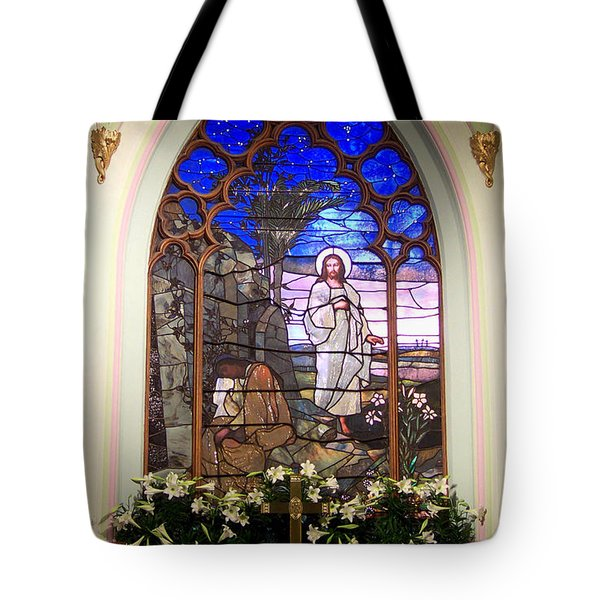 He Is Risen Stained Glass Window Tote Bag