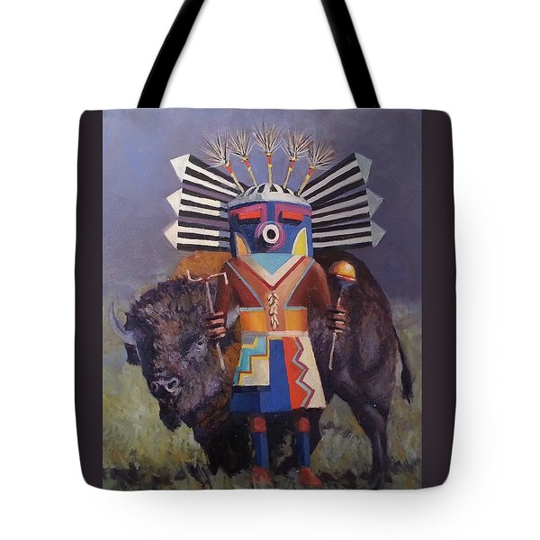He Runs With The  Buffalo Tote Bag