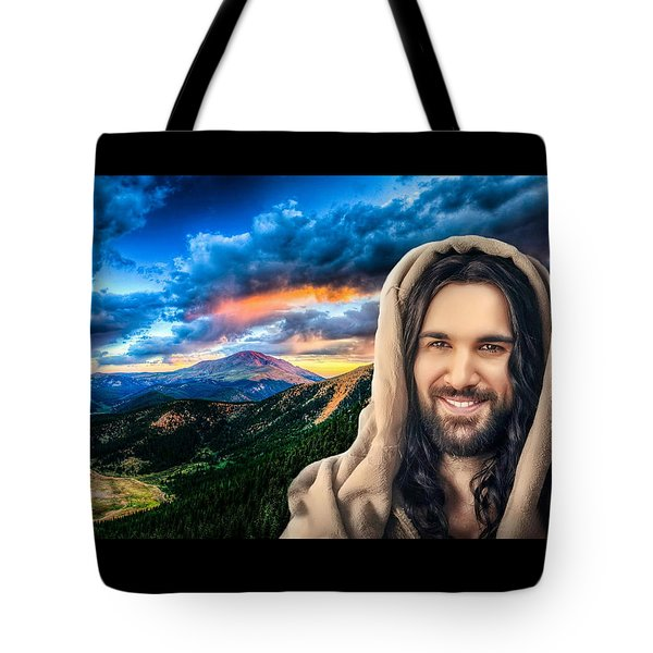 He Watches Over Me Tote Bag by Karen Showell