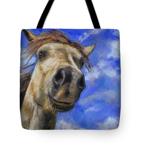Tote Bag featuring the pastel Head In The Clouds by Billie Colson