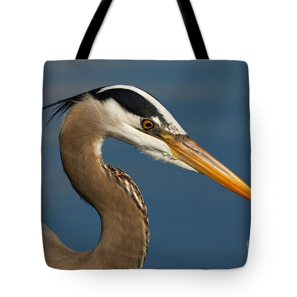 Head Of A Great Blue Heron Tote Bag