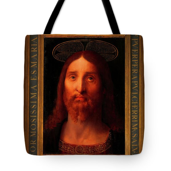 Tote Bag featuring the painting Head Of Christ                                   by Fernando De La Almedina