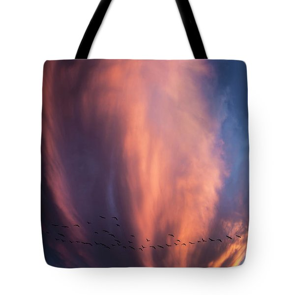 Heading For Cover Tote Bag by Karen Slagle