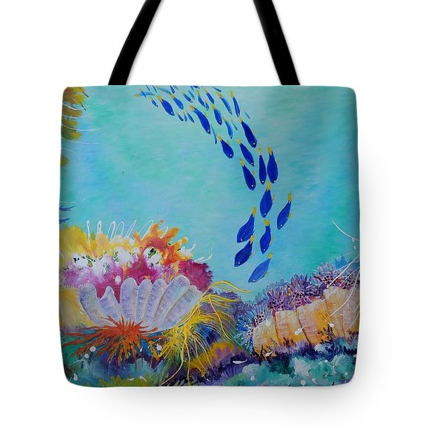 Tote Bag featuring the painting Heading For The Coral by Lyn Olsen