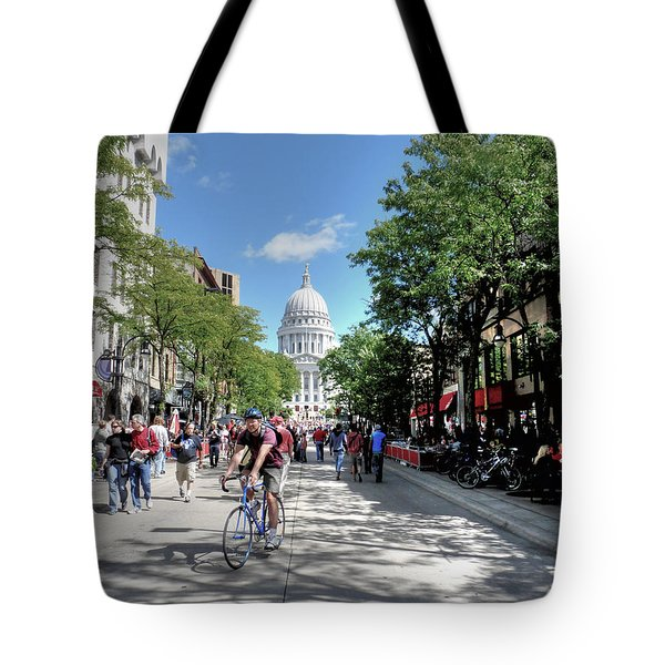 Heading To Camp Randall Tote Bag by David Bearden