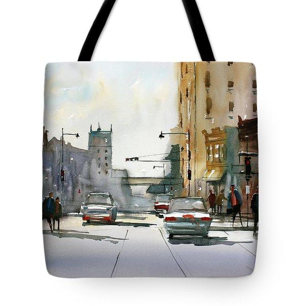 Heading West On College Avenue - Appleton Tote Bag by Ryan Radke