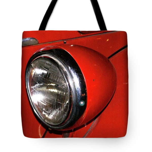 Headlamp On Red Firetruck Tote Bag by Douglas Barnett