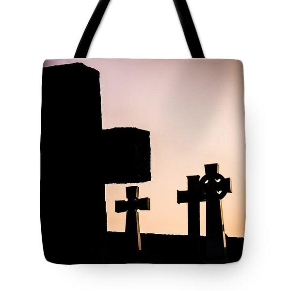 Headstones At Night, Peak District, England, Uk Tote Bag