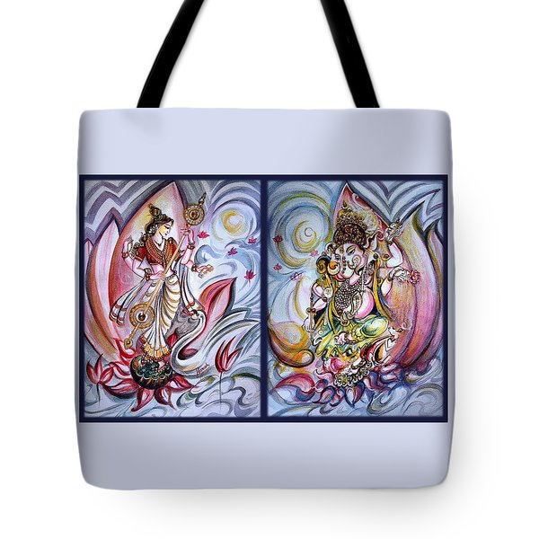 Healing Art - Musical Ganesha And Saraswati Tote Bag