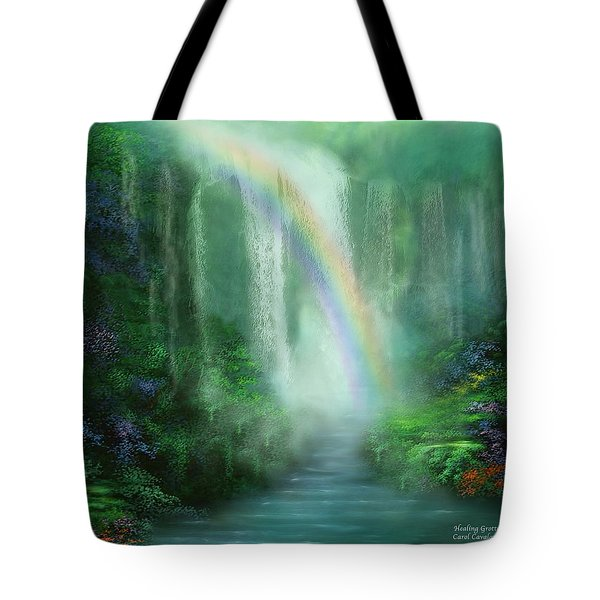 Tote Bag featuring the mixed media Healing Grotto by Carol Cavalaris