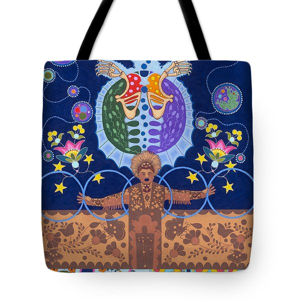 Tote Bag featuring the painting Healing - Nanatawihowin by Chholing Taha